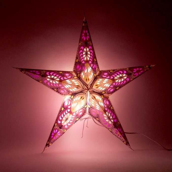 kerstster kerststerren papieren lamp purple shiva 2
