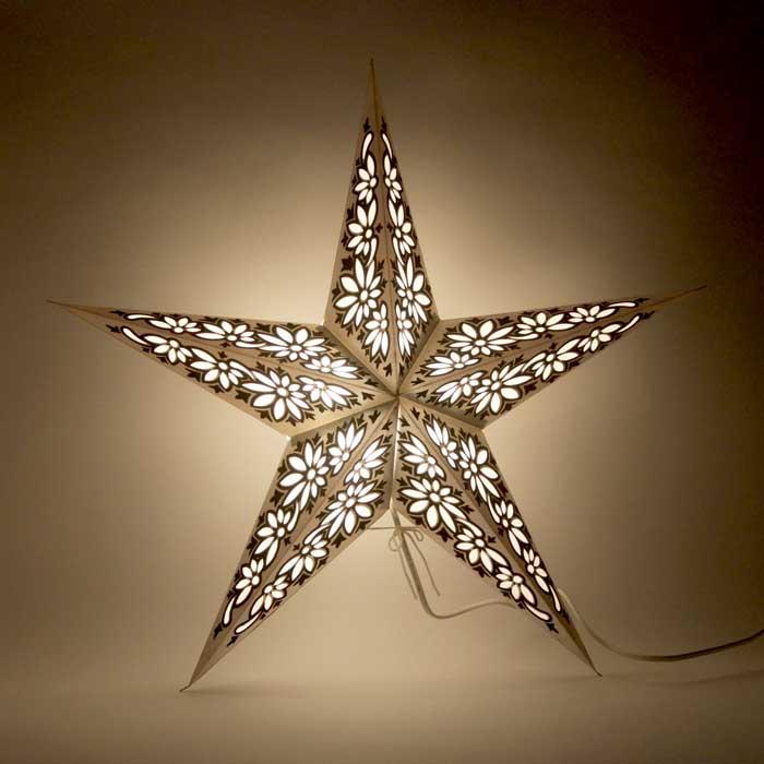 kerstster kerststerren papieren lamp silver black ceylon 2